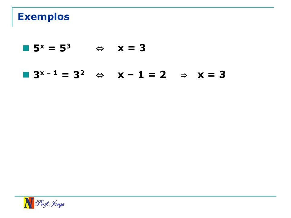 Prof. Jorge Exemplos 5 x = 5 3 x = 3 3 x – 1 = 3 2 x – 1 = 2 x = 3