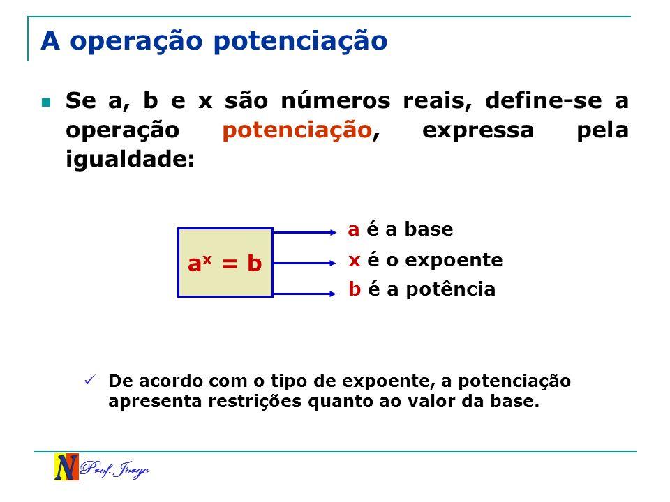 Prof. Jorge A operação potenciação Se a, b e x são números reais, define-se a operação potenciação, expressa pela igualdade: a x = b a é a base x é o