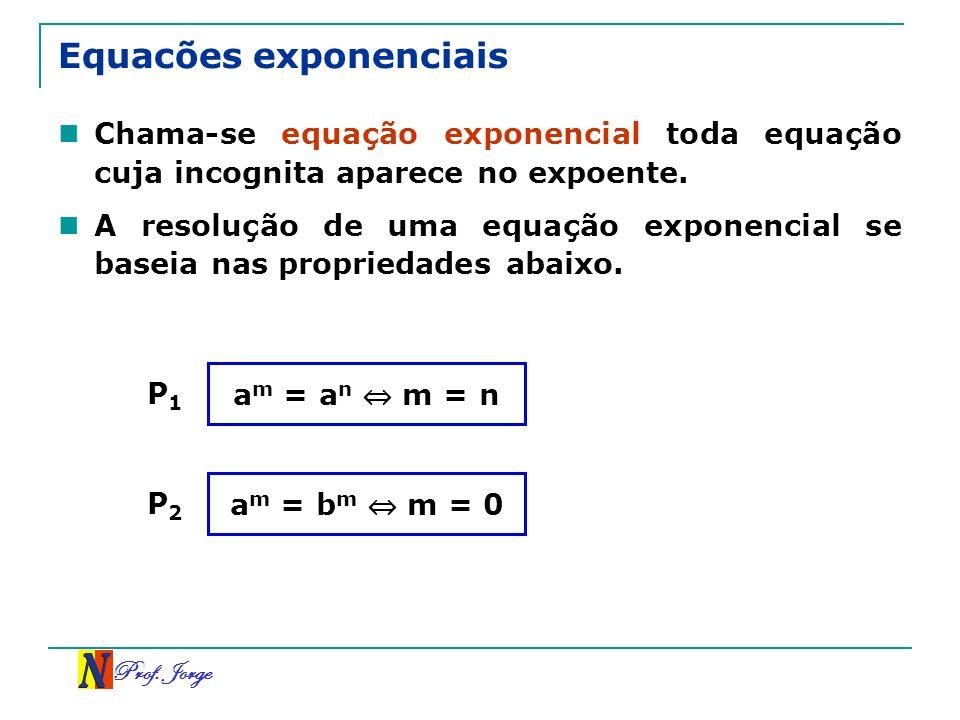 Prof. Jorge Equacões exponenciais Chama-se equação exponencial toda equação cuja incognita aparece no expoente. A resolução de uma equação exponencial