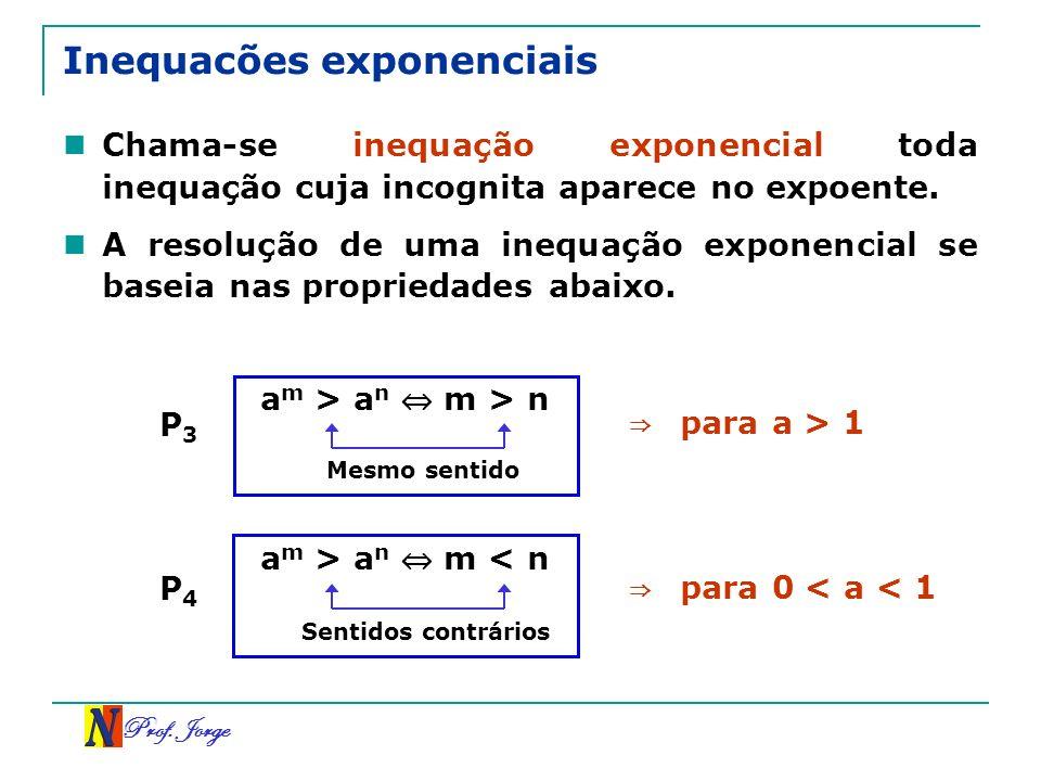 Prof. Jorge Inequacões exponenciais Chama-se inequação exponencial toda inequação cuja incognita aparece no expoente. A resolução de uma inequação exp