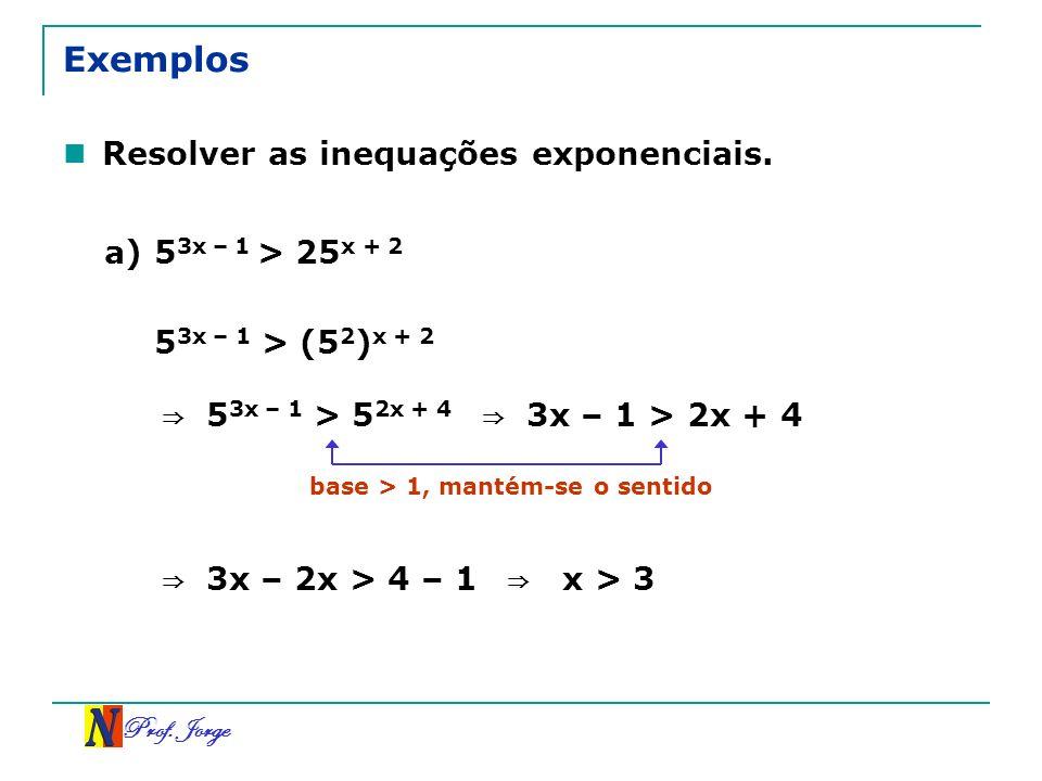 Prof. Jorge Exemplos Resolver as inequações exponenciais. a) 5 3x – 1 > 25 x + 2 5 3x – 1 > (5 2 ) x + 2 5 3x – 1 > 5 2x + 4 3x – 1 > 2x + 4 base > 1,