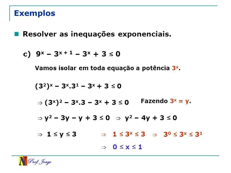 Prof. Jorge Exemplos Resolver as inequações exponenciais. c) 9 x – 3 x + 1 – 3 x + 3 0 (3 2 ) x – 3 x.3 1 – 3 x + 3 0 Vamos isolar em toda equação a p