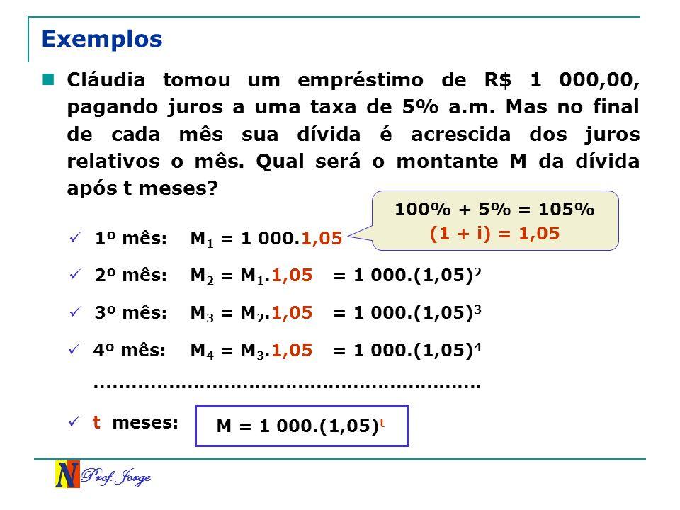 Prof. Jorge Exemplos Cláudia tomou um empréstimo de R$ 1 000,00, pagando juros a uma taxa de 5% a.m. Mas no final de cada mês sua dívida é acrescida d