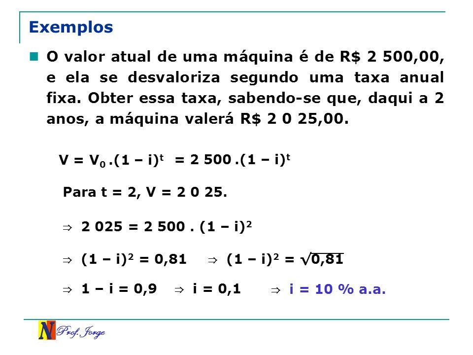 Prof. Jorge Exemplos O valor atual de uma máquina é de R$ 2 500,00, e ela se desvaloriza segundo uma taxa anual fixa. Obter essa taxa, sabendo-se que,