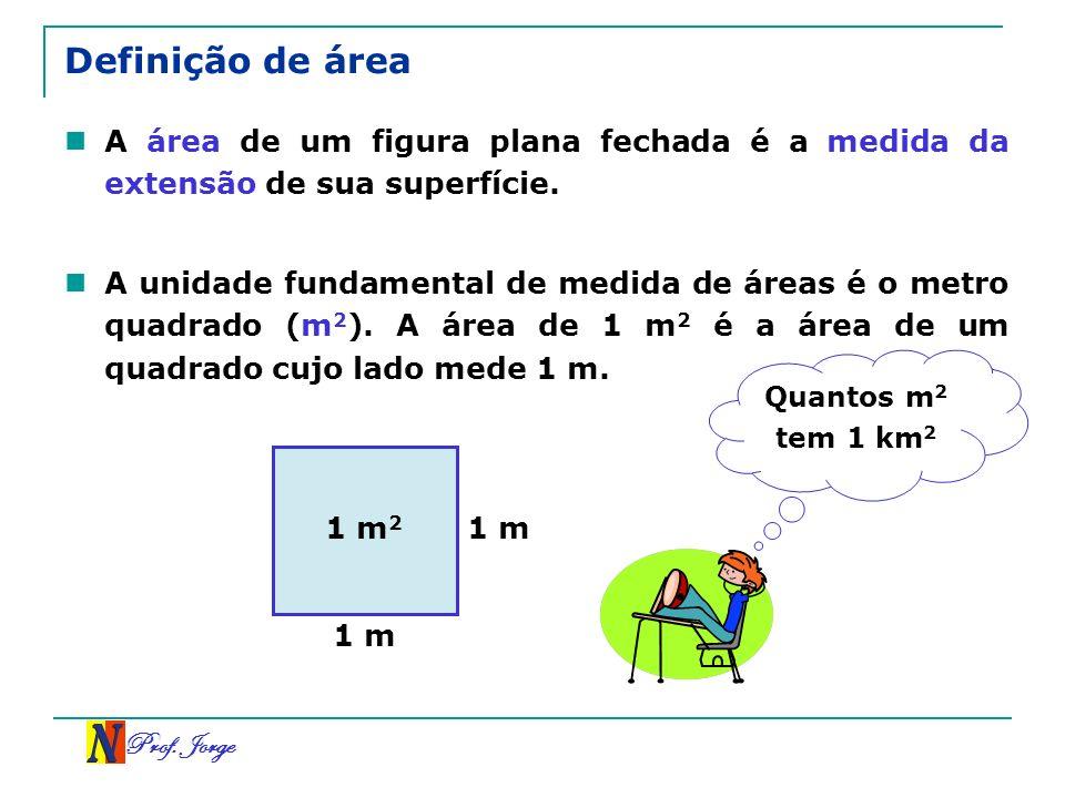 Prof. Jorge Definição de área A área de um figura plana fechada é a medida da extensão de sua superfície. A unidade fundamental de medida de áreas é o