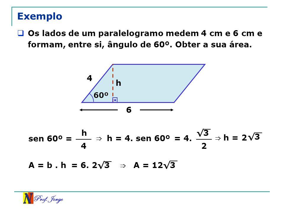 Prof. Jorge 6 4 60º Exemplo Os lados de um paralelogramo medem 4 cm e 6 cm e formam, entre si, ângulo de 60º. Obter a sua área. h sen 60º = h 4 h = 4.