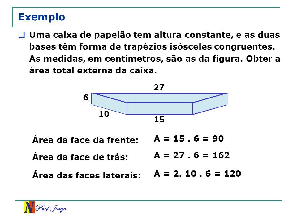 Prof. Jorge Exemplo Uma caixa de papelão tem altura constante, e as duas bases têm forma de trapézios isósceles congruentes. As medidas, em centímetro