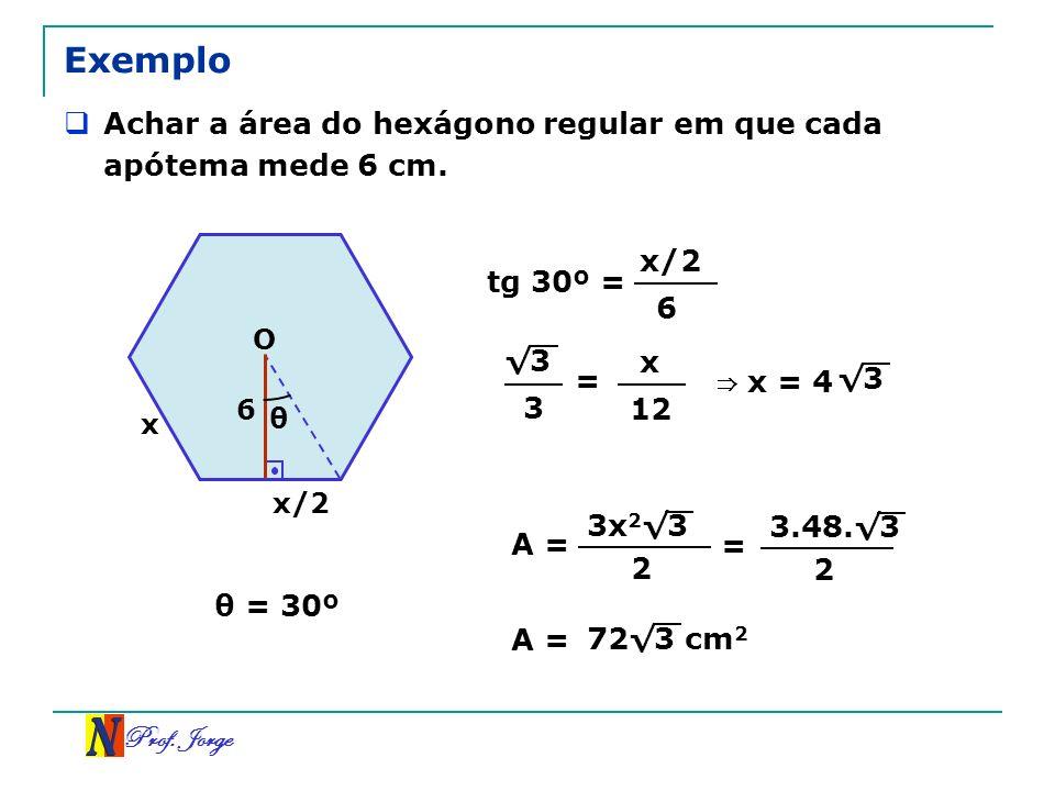 Prof. Jorge 3 Exemplo Achar a área do hexágono regular em que cada apótema mede 6 cm. x O 6 x/2 θ tg 30º = x/2 6 θ = 30º 3 = x 12 x = 4 3 A = 3x 2 3 2