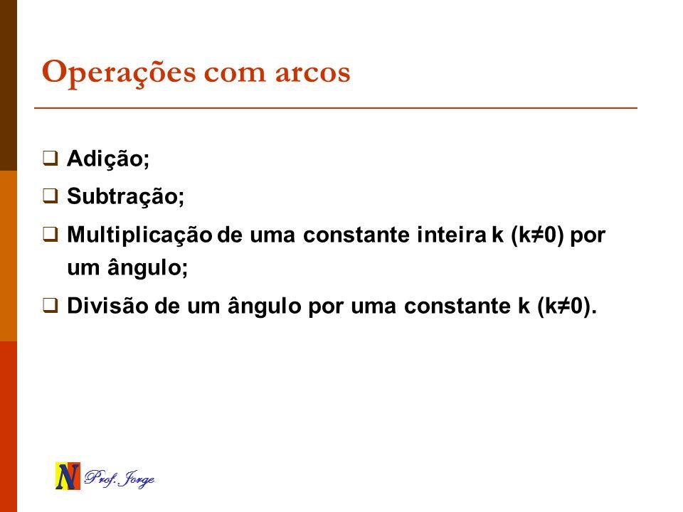 Prof. Jorge Operações com arcos Adição; Subtração; Multiplicação de uma constante inteira k (k0) por um ângulo; Divisão de um ângulo por uma constante