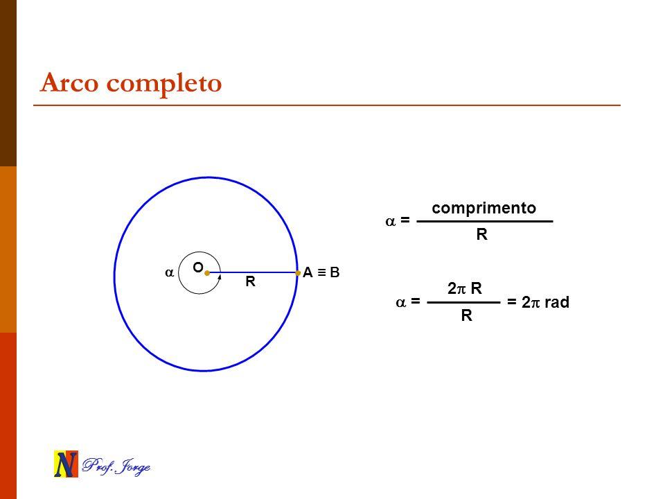 Prof. Jorge Arco completo O R A B = comprimento R = 2 R R = 2 rad