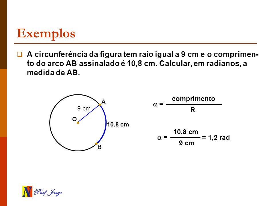 Prof. Jorge Exemplos B 10,8 cm A circunferência da figura tem raio igual a 9 cm e o comprimen- to do arco AB assinalado é 10,8 cm. Calcular, em radian