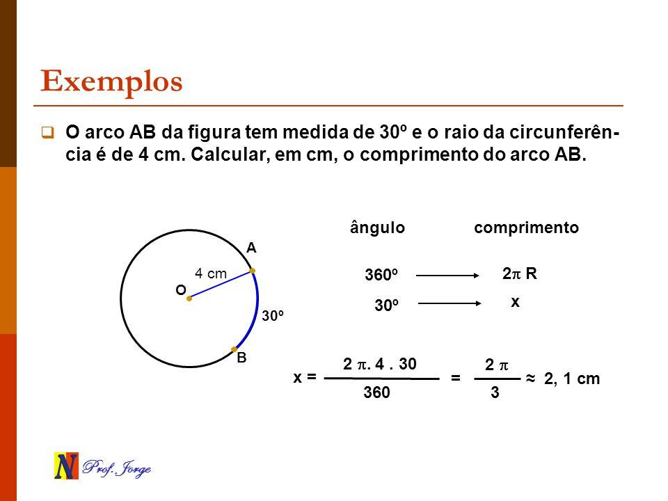 Prof. Jorge Exemplos B 30º O arco AB da figura tem medida de 30º e o raio da circunferên- cia é de 4 cm. Calcular, em cm, o comprimento do arco AB. O