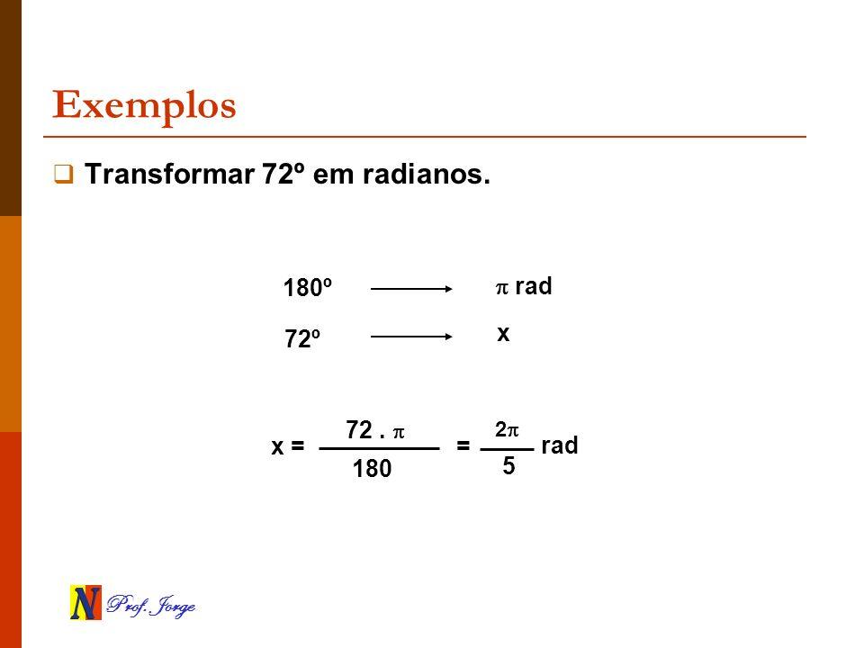 Prof. Jorge Exemplos Transformar 72º em radianos. 180º rad 72º x x = 72. 180 = 2 5 rad