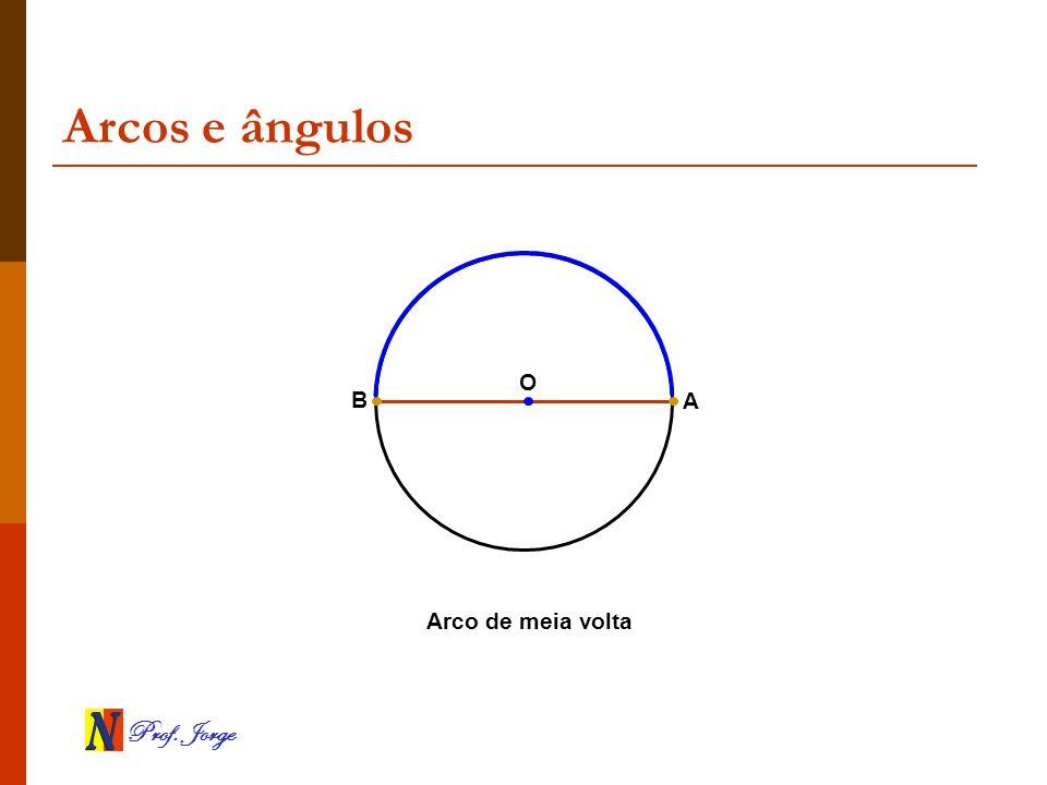 Prof. Jorge Arcos e ângulos A B Arco de meia volta O