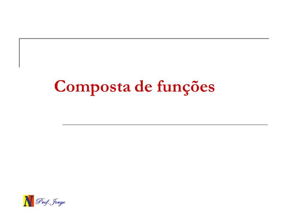 Prof.Jorge Exemplo Se f(x) = 2x – 3 e g(x) = x + 5, obter as funções (f o f)(x) e (g o f o f)(x).