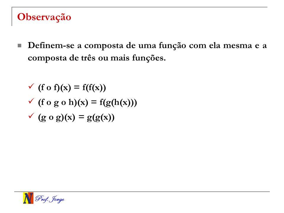 Prof. Jorge Observação Definem-se a composta de uma função com ela mesma e a composta de três ou mais funções. (f o f)(x) = f(f(x)) (f o g o h)(x) = f