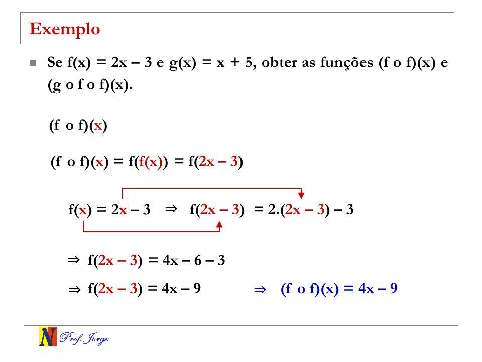 Prof. Jorge Exemplo Se f(x) = 2x – 3 e g(x) = x + 5, obter as funções (f o f)(x) e (g o f o f)(x). (f o f)(x) (f o f)(x) = f(f(x)) = f(2x – 3) f(x) =