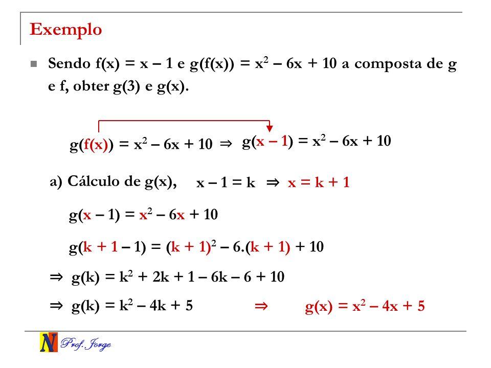 Prof. Jorge Exemplo Sendo f(x) = x – 1 e g(f(x)) = x 2 – 6x + 10 a composta de g e f, obter g(3) e g(x). g(f(x)) = x 2 – 6x + 10 g(x – 1) = x 2 – 6x +