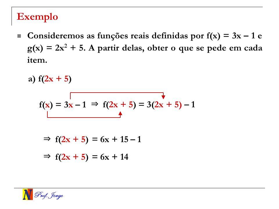 Prof. Jorge Exemplo Consideremos as funções reais definidas por f(x) = 3x – 1 e g(x) = 2x 2 + 5. A partir delas, obter o que se pede em cada item. a)