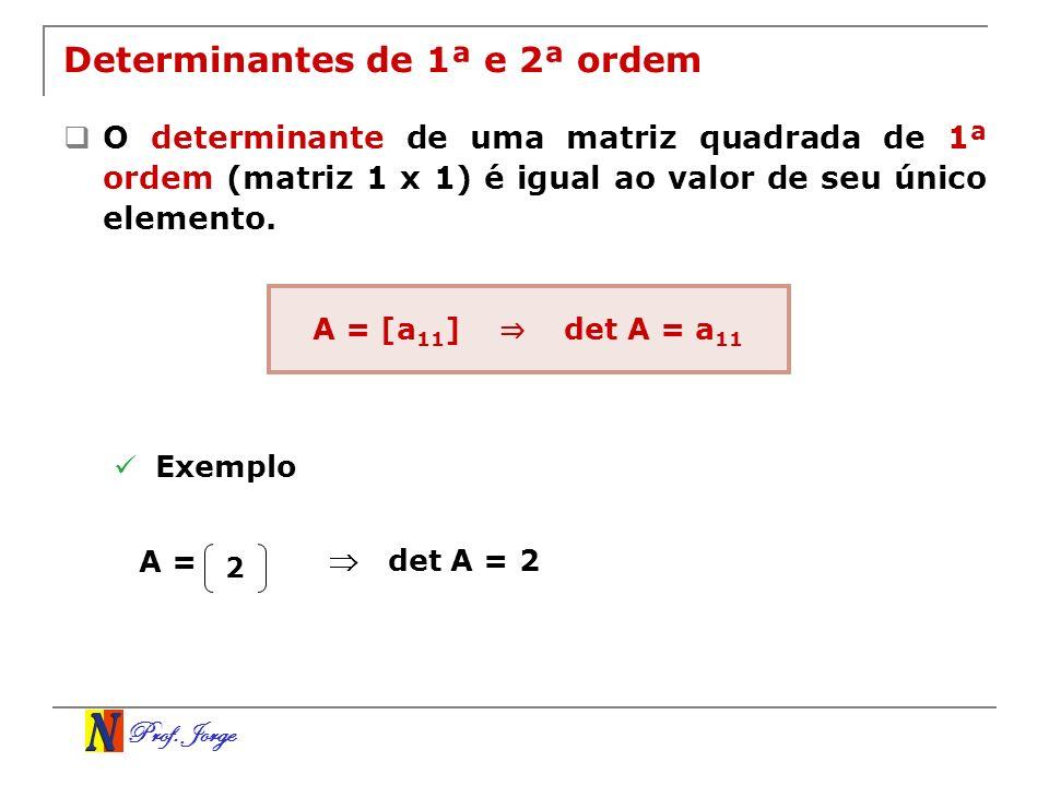 Prof.Jorge Exemplo Calcular o determinante abaixo utilizando a regra de Chió.