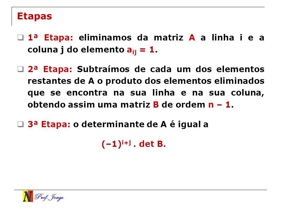 Prof. Jorge Etapas 1ª Etapa: eliminamos da matriz A a linha i e a coluna j do elemento a ij = 1. 2ª Etapa: Subtraímos de cada um dos elementos restant