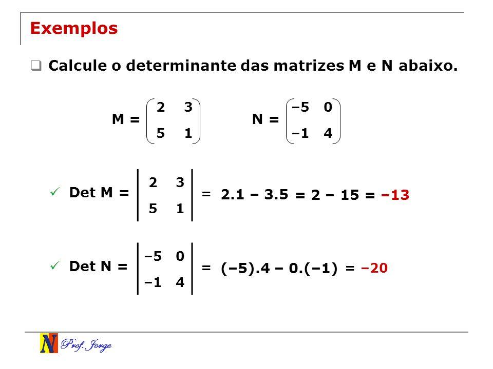 Prof.Jorge 3–5 1–2 2–5 13 Exemplo Determine a inversa da matriz A abaixo.