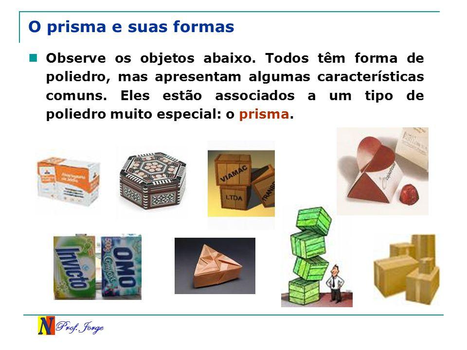 Prof. Jorge O prisma e suas formas Observe os objetos abaixo. Todos têm forma de poliedro, mas apresentam algumas características comuns. Eles estão a
