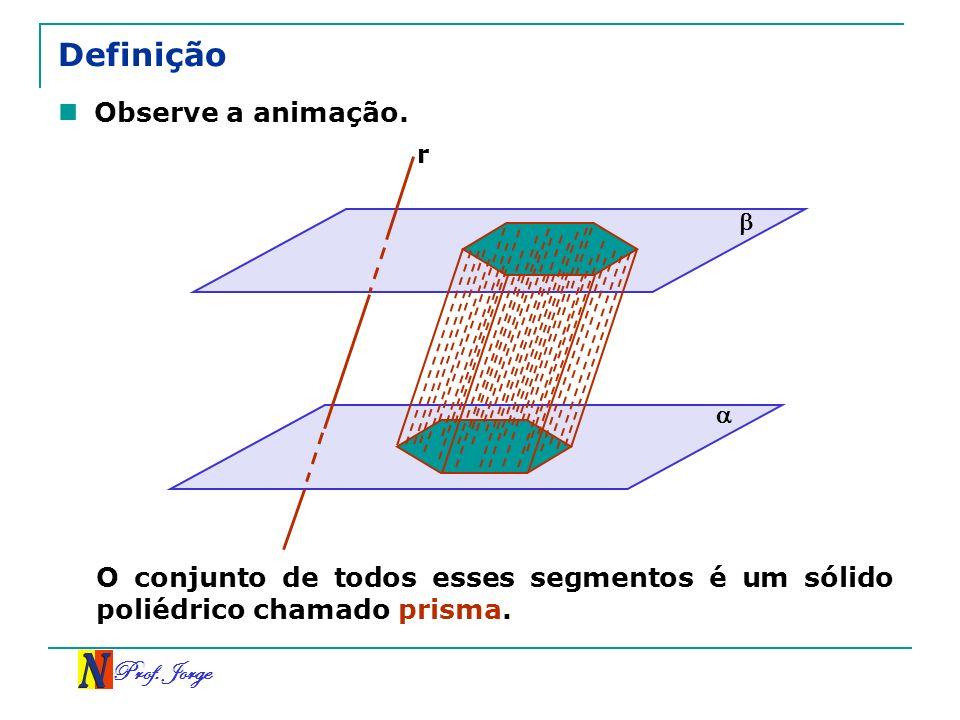 Prof. Jorge Definição Observe a animação. r O conjunto de todos esses segmentos é um sólido poliédrico chamado prisma.