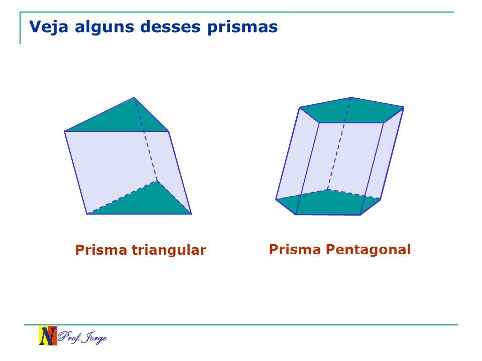 Prof. Jorge Veja alguns desses prismas Prisma triangular Prisma Pentagonal
