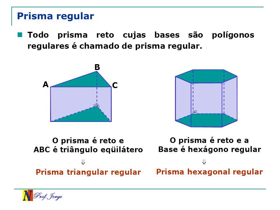 Prof. Jorge Prisma regular Todo prisma reto cujas bases são polígonos regulares é chamado de prisma regular. O prisma é reto e ABC é triângulo eqüilát
