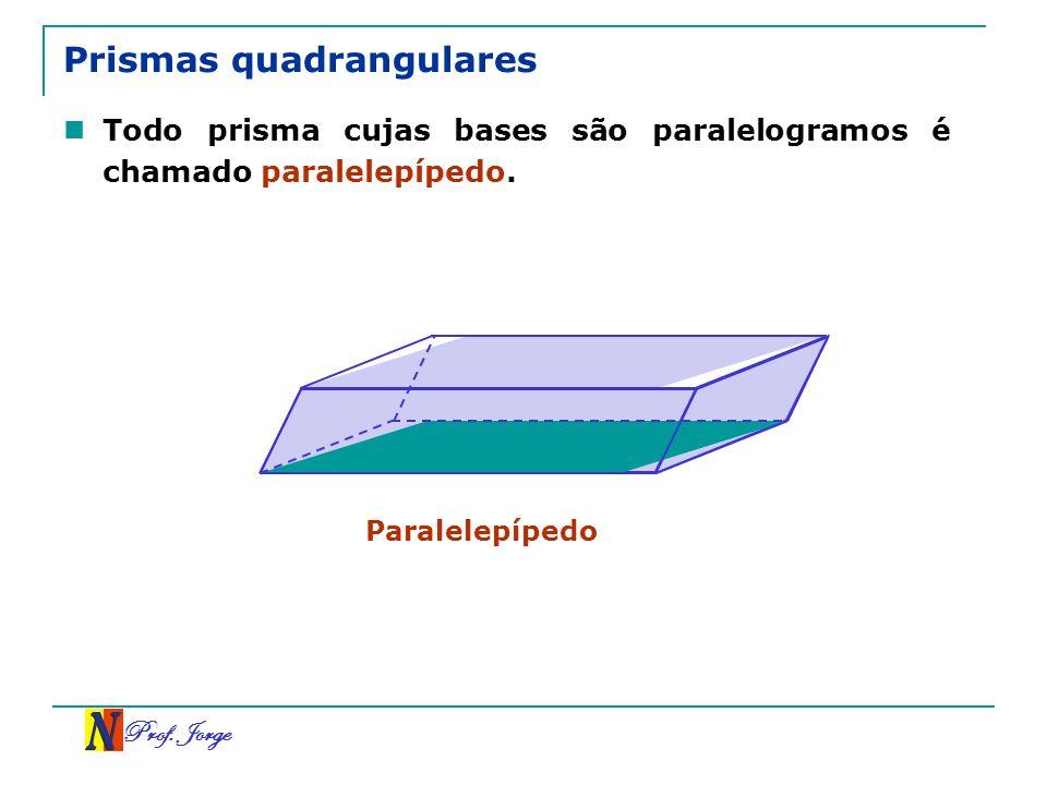 Prof. Jorge Prismas quadrangulares Todo prisma cujas bases são paralelogramos é chamado paralelepípedo. Paralelepípedo