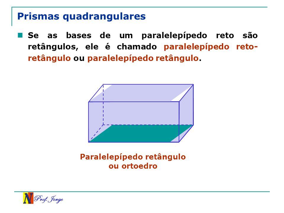Prof. Jorge Prismas quadrangulares Se as bases de um paralelepípedo reto são retângulos, ele é chamado paralelepípedo reto- retângulo ou paralelepíped
