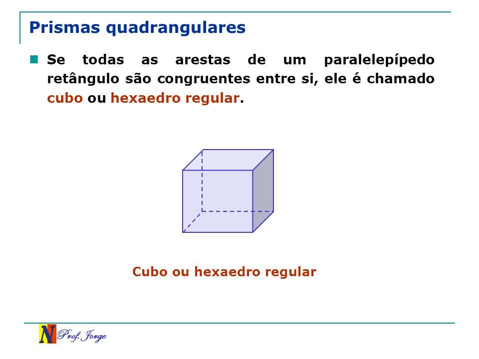 Prof. Jorge Prismas quadrangulares Se todas as arestas de um paralelepípedo retângulo são congruentes entre si, ele é chamado cubo ou hexaedro regular