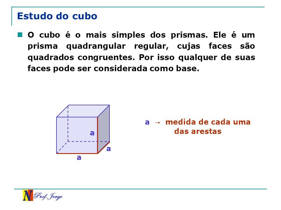 Prof. Jorge Estudo do cubo O cubo é o mais simples dos prismas. Ele é um prisma quadrangular regular, cujas faces são quadrados congruentes. Por isso