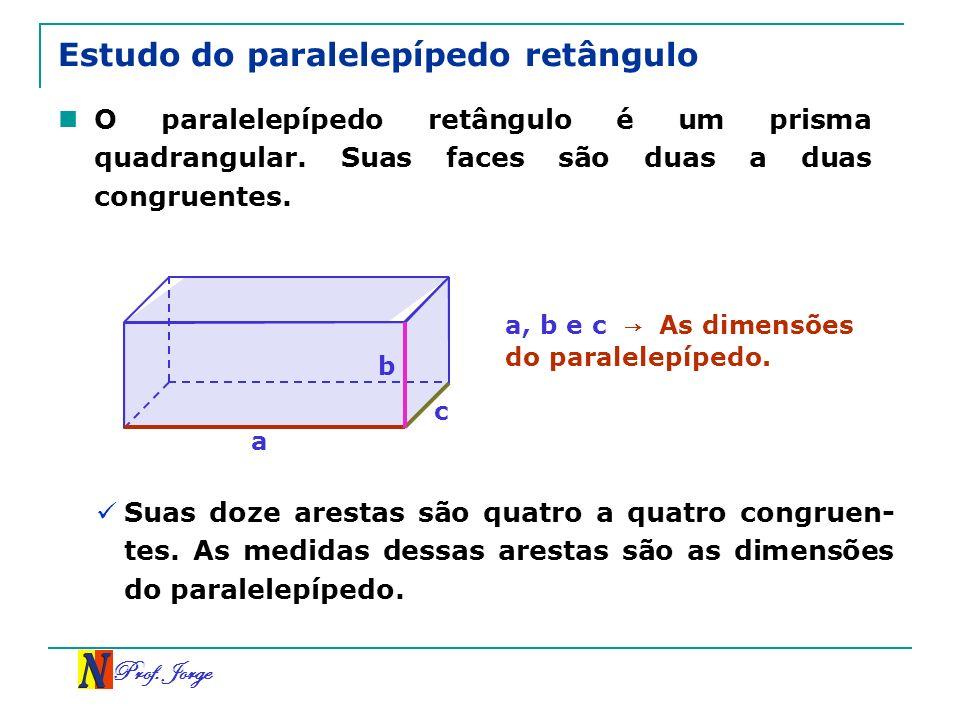 Prof. Jorge Estudo do paralelepípedo retângulo O paralelepípedo retângulo é um prisma quadrangular. Suas faces são duas a duas congruentes. a, b e c A