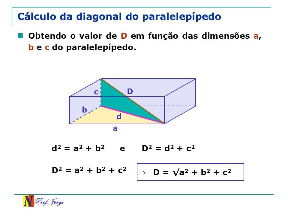 Prof. Jorge b a Cálculo da diagonal do paralelepípedo Obtendo o valor de D em função das dimensões a, b e c do paralelepípedo. c D d 2 = a 2 + b 2 e D