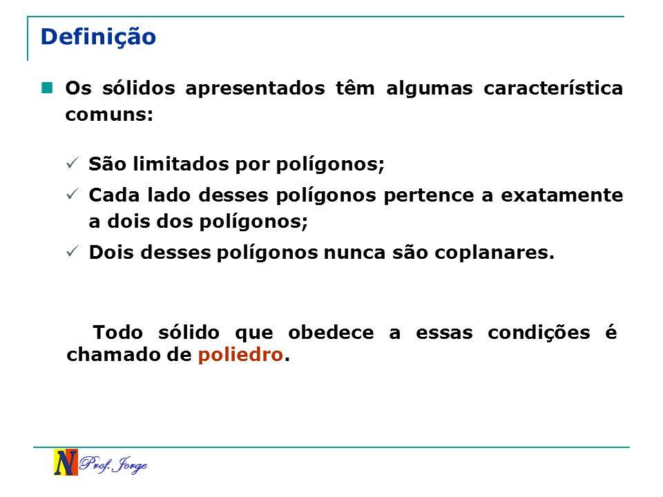 Prof. Jorge Definição Os sólidos apresentados têm algumas característica comuns: São limitados por polígonos; Cada lado desses polígonos pertence a ex