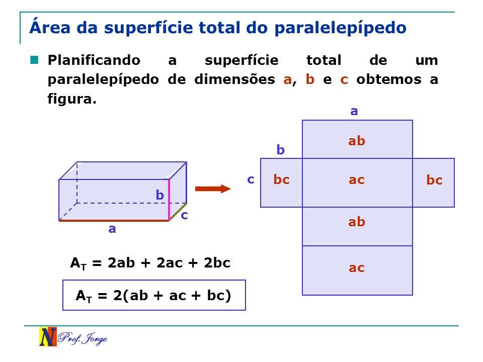 Prof. Jorge Área da superfície total do paralelepípedo Planificando a superfície total de um paralelepípedo de dimensões a, b e c obtemos a figura. a