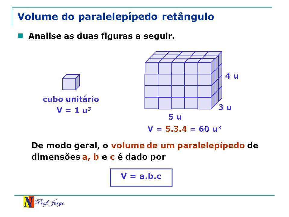 Prof. Jorge Volume do paralelepípedo retângulo Analise as duas figuras a seguir. cubo unitário V = 1 u 3 V = 5.3.4 = 60 u 3 5 u 3 u 4 u De modo geral,