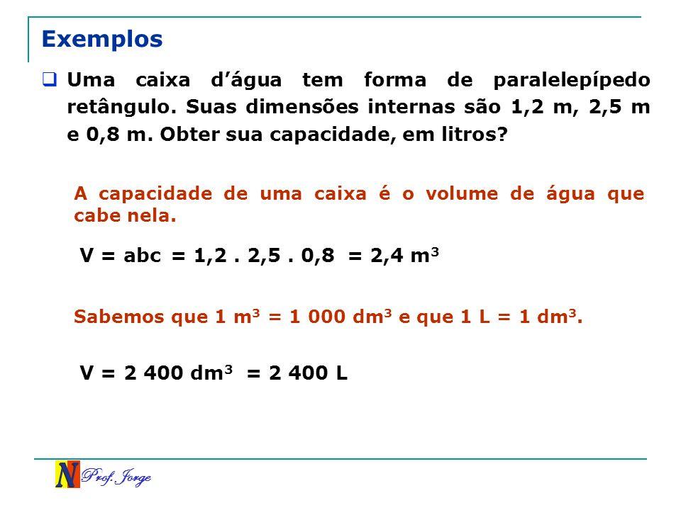 Prof. Jorge Exemplos Uma caixa dágua tem forma de paralelepípedo retângulo. Suas dimensões internas são 1,2 m, 2,5 m e 0,8 m. Obter sua capacidade, em