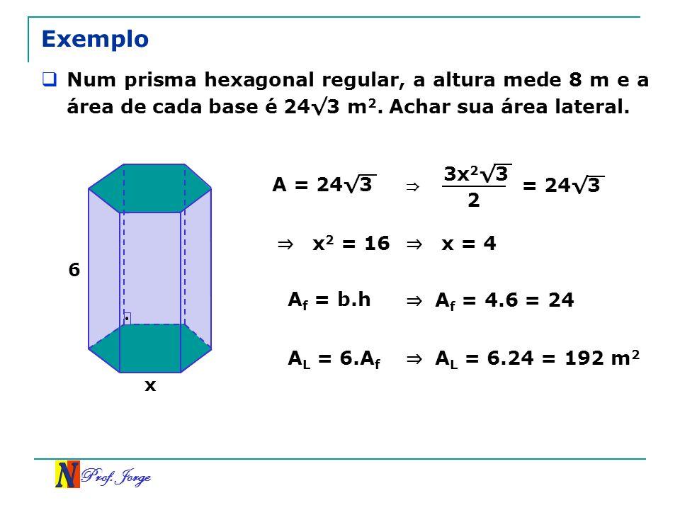 Prof. Jorge Exemplo Num prisma hexagonal regular, a altura mede 8 m e a área de cada base é 243 m 2. Achar sua área lateral. x 6 A = 243 2 3x 2 3 = 24