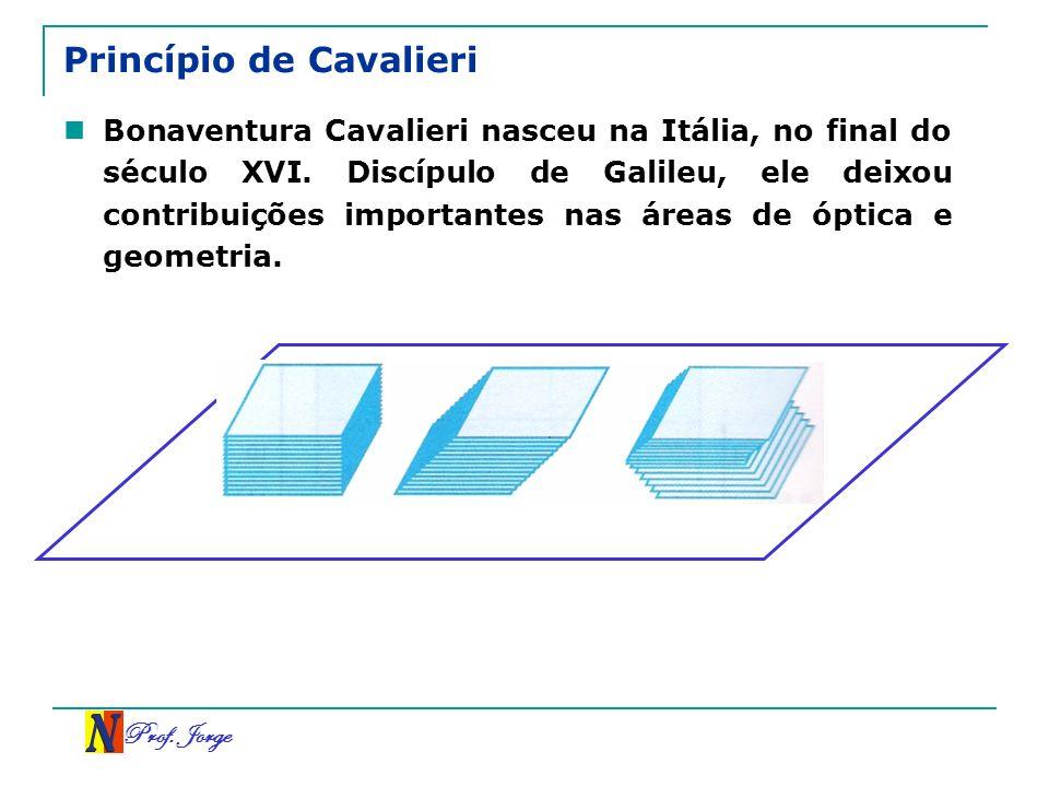 Prof. Jorge Princípio de Cavalieri Bonaventura Cavalieri nasceu na Itália, no final do século XVI. Discípulo de Galileu, ele deixou contribuições impo
