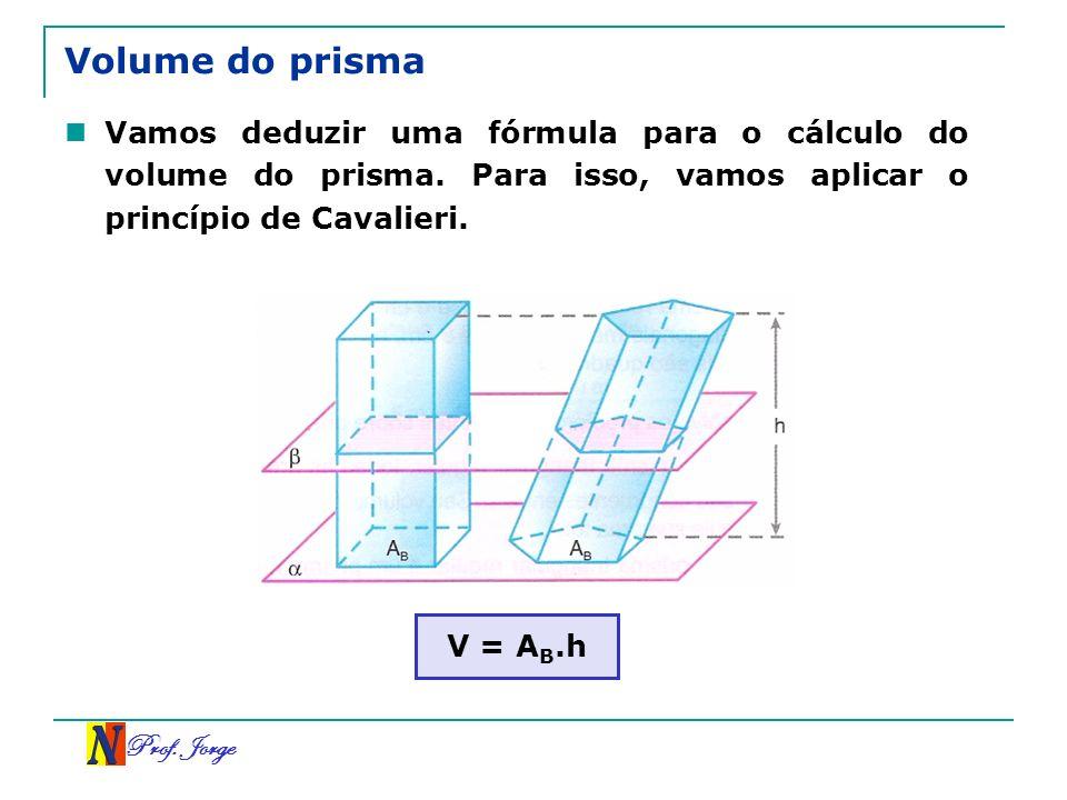 Prof. Jorge Volume do prisma Vamos deduzir uma fórmula para o cálculo do volume do prisma. Para isso, vamos aplicar o princípio de Cavalieri. V = A B.