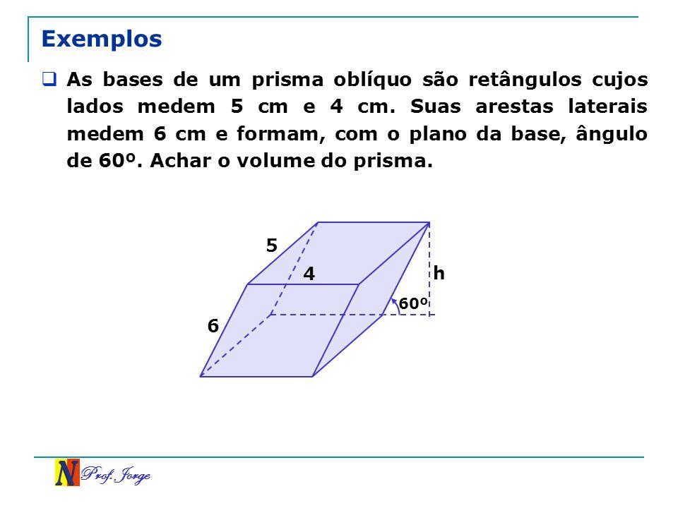 Prof. Jorge h 60º Exemplos As bases de um prisma oblíquo são retângulos cujos lados medem 5 cm e 4 cm. Suas arestas laterais medem 6 cm e formam, com