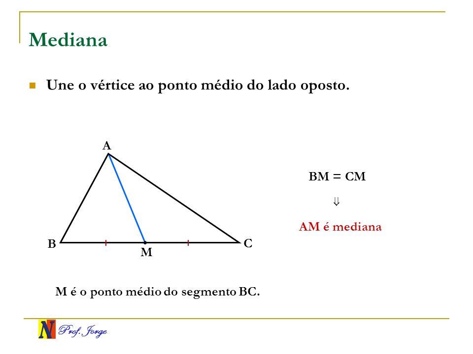 Prof. Jorge Mediana Une o vértice ao ponto médio do lado oposto. B A C M AM é mediana BM = CM M é o ponto médio do segmento BC.