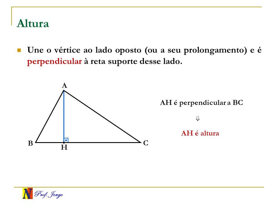 Prof. Jorge Altura Une o vértice ao lado oposto (ou a seu prolongamento) e é perpendicular à reta suporte desse lado. B A C H AH é altura AH é perpend