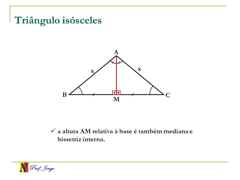Prof. Jorge Triângulo isósceles A B C x x a altura AM relativa à base é também mediana e bissetriz interna. M