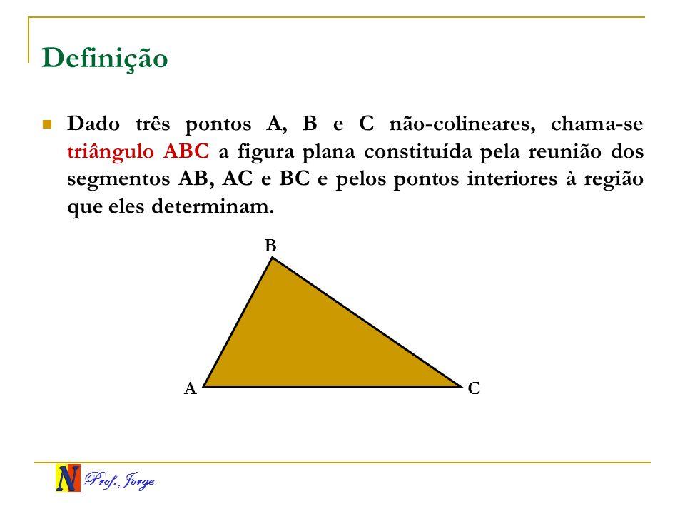 Prof. Jorge Definição Dado três pontos A, B e C não-colineares, chama-se triângulo ABC a figura plana constituída pela reunião dos segmentos AB, AC e