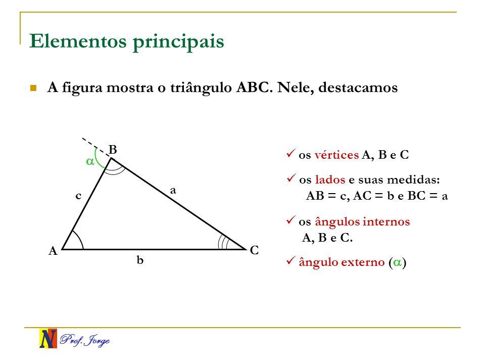Prof. Jorge Elementos principais A figura mostra o triângulo ABC. Nele, destacamos A B C a b c os vértices A, B e C os lados e suas medidas: AB = c, A
