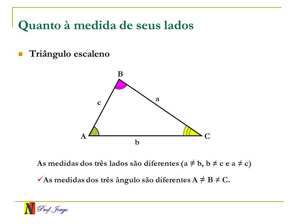 Prof. Jorge Quanto à medida de seus lados Triângulo escaleno A B C a b c As medidas dos três lados são diferentes (a b, b c e a c) As medidas dos três